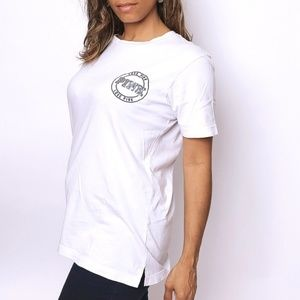 PINK short sleeves white tee, size XS